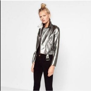 Zara Silver Faux Leather Moto Jacket NWT
